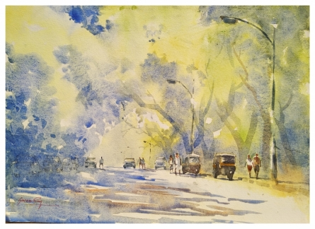 Kalyani Nagar Pune | Painting by artist Soven Roy | watercolor | Handmade Paper