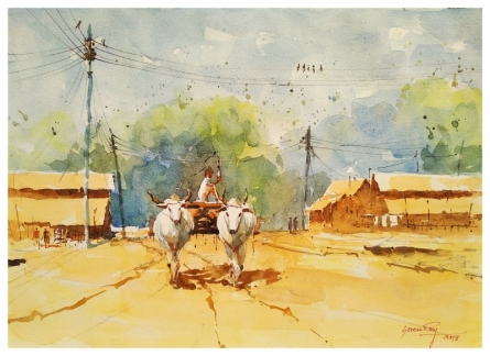 Soven Roy | Watercolor Painting title Bullock Cart on Handmade Paper | Artist Soven Roy Gallery | ArtZolo.com
