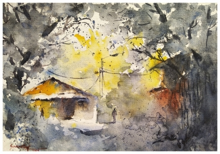 Soven Roy | Watercolor Painting title Subtle Colors - Brick house on Handmade Paper