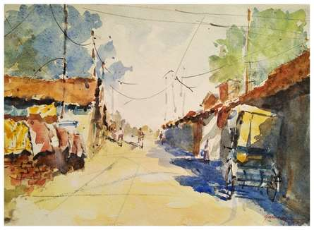Soven Roy | Watercolor Painting title Resting Rickshaw on Handmade Paper