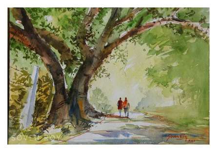 Lets Go For A Walk | Painting by artist Soven Roy | watercolor | Paper