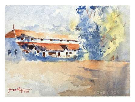 Soven Roy | Watercolor Painting title Morning Walk on Paper | Artist Soven Roy Gallery | ArtZolo.com