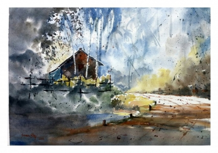 House at the corner | Painting by artist Soven Roy | watercolor | Paper