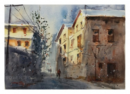 Soven Roy | Watercolor Painting title CITYSCAPE PUNE on Paper | Artist Soven Roy Gallery | ArtZolo.com