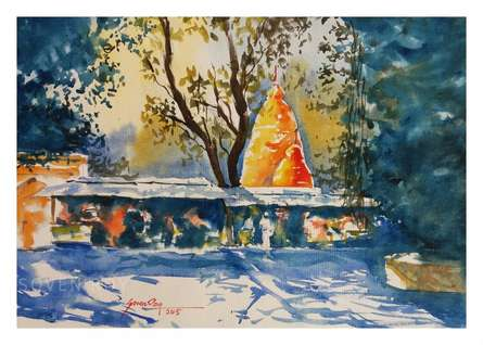 Landscape Watercolor Art Painting title Temple at Baneswar by artist Soven Roy