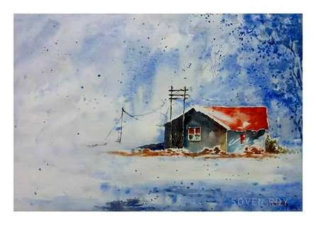 Landscape Watercolor Art Painting title 'Brick Red house' by artist Soven Roy