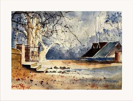 Landscape Watercolor Art Painting title 'Good Morning' by artist Soven Roy