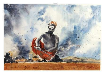 Soven Roy | Watercolor Painting title Lighting Fire on Paper | Artist Soven Roy Gallery | ArtZolo.com