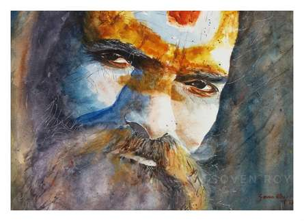 Portrait Watercolor Art Painting title 'Indian Sage' by artist Soven Roy