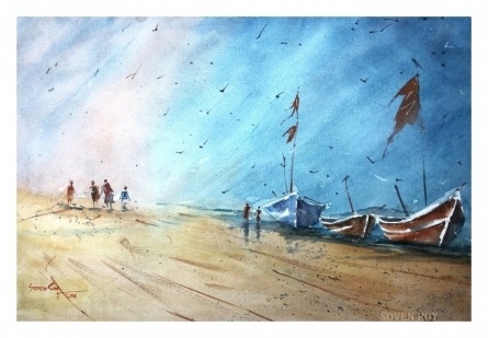 Soven Roy Paintings | Watercolor Painting - Waiting Boats by artist Soven Roy | ArtZolo.com