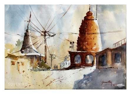 Landscape Watercolor Art Painting title 'Village Temple' by artist Soven Roy