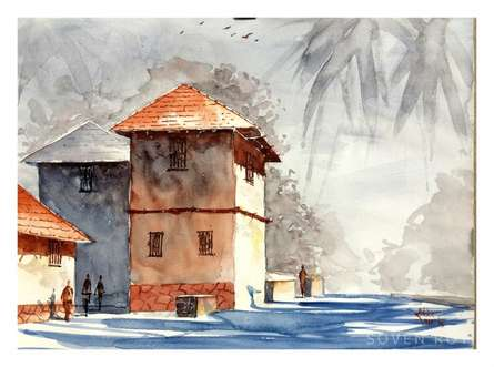 Red Konkan House | Painting by artist Soven Roy | watercolor | Paper