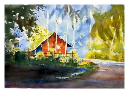 Soven Roy Paintings | Watercolor Painting - Red House At The Corner 1 by artist Soven Roy | ArtZolo.com