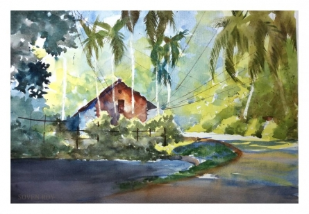 Red House At The Corner 2 | Painting by artist Soven Roy | watercolor | Paper