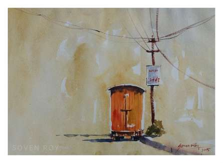 Red Van | Painting by artist Soven Roy | watercolor | Paper