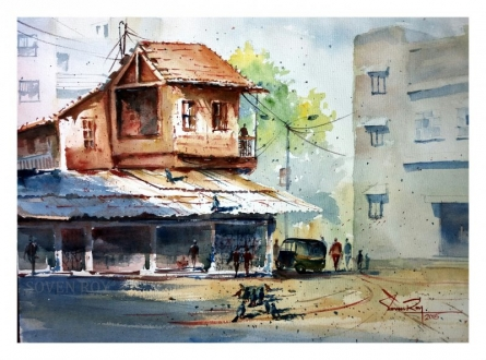 Landscape Watercolor Art Painting title 'Scene From Pune City' by artist Soven Roy