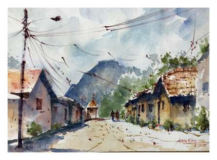 Soven Roy | Watercolor Painting title Village At Wai on Paper | Artist Soven Roy Gallery | ArtZolo.com