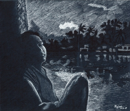 Figurative Ink Art Drawing title 'Twilight from boathouse' by artist Guru Rajesh