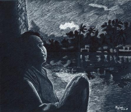 Twilight from boathouse | Drawing by artist Guru Rajesh |  | ink | Paper