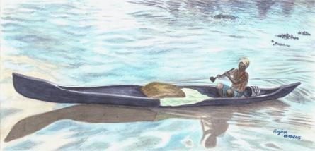 Boat in backwaters | Painting by artist Guru Rajesh | watercolor | Paper
