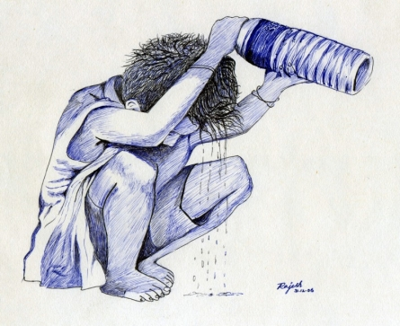 Cooling Off | Drawing by artist Guru Rajesh | | pen | Paper
