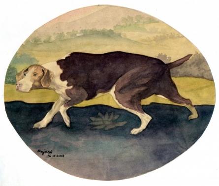 Animals Watercolor Art Painting title 'Faithful' by artist Guru Rajesh