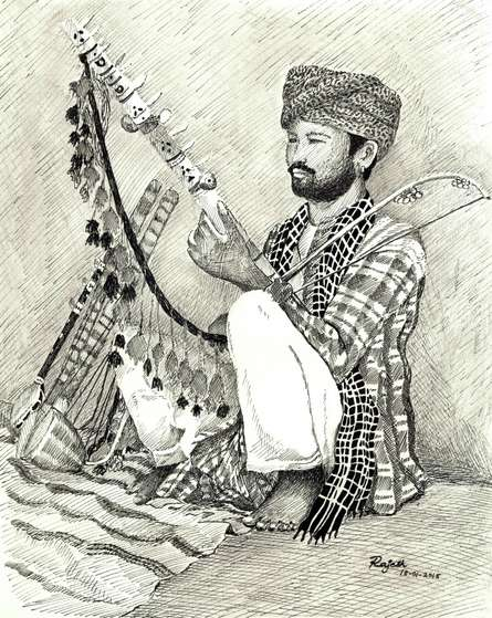 Pen Paintings | Drawing title Folk Musician of Rajasthan on Paper | Artist Guru Rajesh