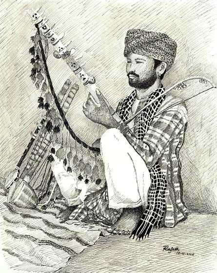 Folk Musician of Rajasthan   Drawing by artist Guru Rajesh      pen   Paper