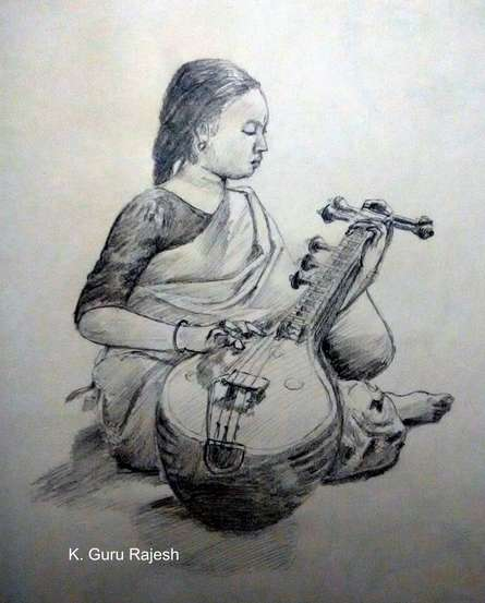 Veena Sadhana | Drawing by artist Guru Rajesh |  | pencil | Paper