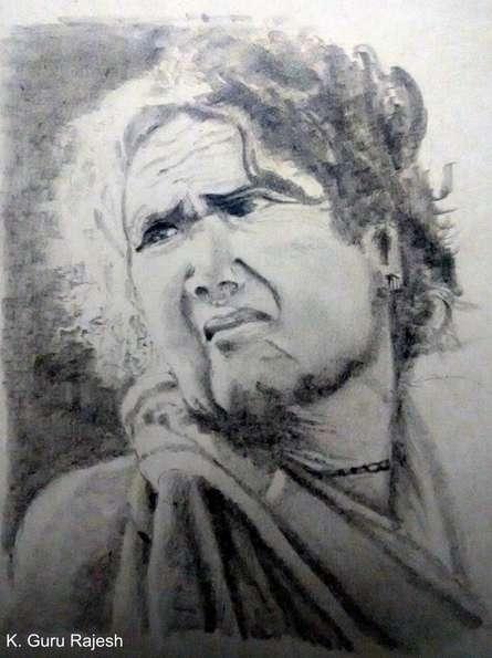 Tribal lady | Drawing by artist Guru Rajesh |  | pencil | Paper