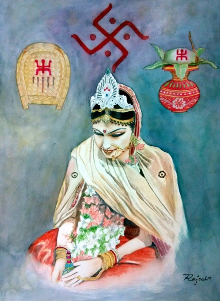 Bengali Bride | Painting by artist Guru Rajesh | watercolor | Paper