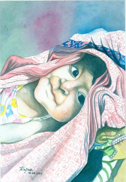 Lil Angel | Painting by artist Guru Rajesh | watercolor | Paper