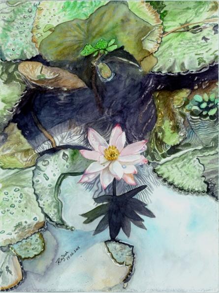 Lotus Pond Below Coconut Tree   Painting by artist Guru Rajesh   watercolor   Paper