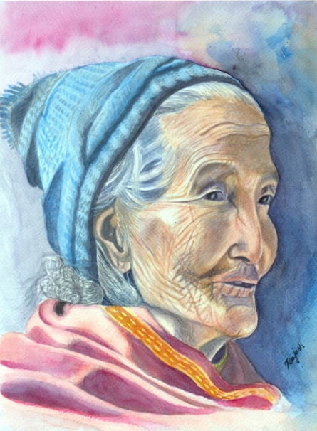 Old Lady | Painting by artist Guru Rajesh | watercolor | Paper