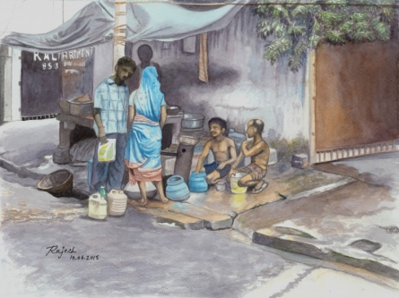 Roadside Revelry | Painting by artist Guru Rajesh | watercolor | Paper