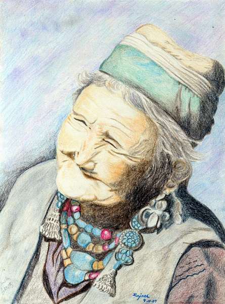 Portrait Pencil Art Drawing title 'Senile Felicity' by artist Guru Rajesh