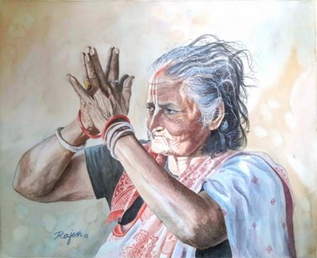 Sun Salutation   Painting by artist Guru Rajesh   watercolor   Paper