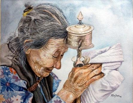 The Prayer | Painting by artist Guru Rajesh | watercolor | Paper