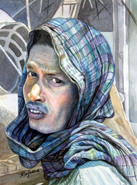 Worker At A Construction Site | Painting by artist Guru Rajesh | watercolor | Paper