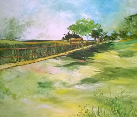 Nature Acrylic Art Painting title Countryside by artist Shubhamshiva