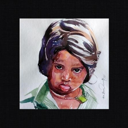 Happy 1 | Painting by artist Solomon Rajendiran | watercolor | PufBoard