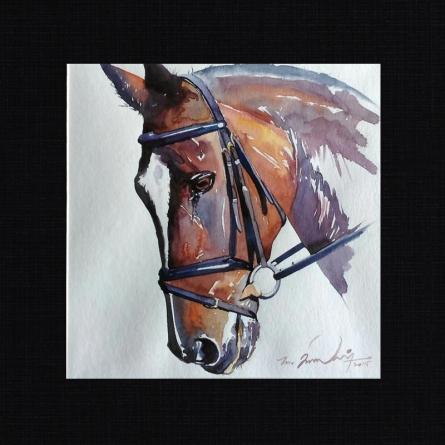 Horse 4 | Painting by artist Solomon Rajendiran | watercolor | PufBoard