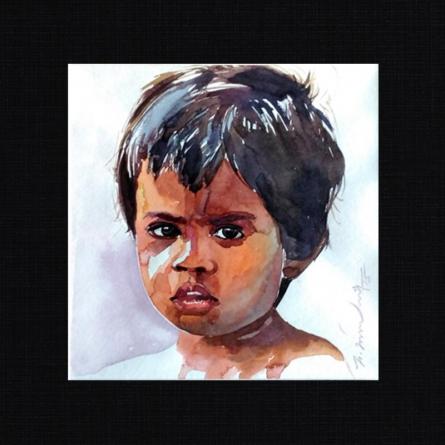 Happy 3 | Painting by artist Solomon Rajendiran | watercolor | PufBoard