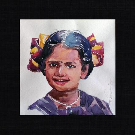 Happy 4 | Painting by artist Solomon Rajendiran | watercolor | PufBoard