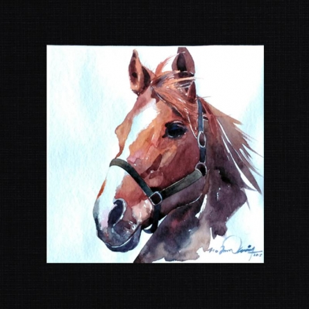 Horse 3 | Painting by artist Solomon Rajendiran | watercolor | PufBoard