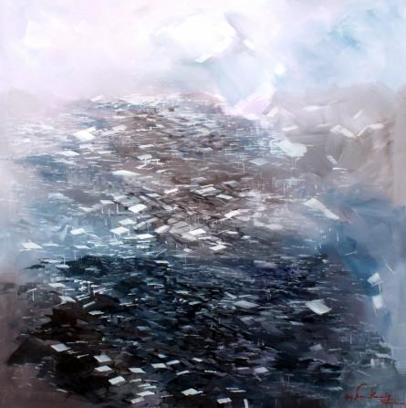 Landscape Acrylic Art Painting title 'Landscape Series 2' by artist Solomon Rajendiran