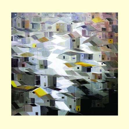 Abstract Acrylic Art Painting title Present landscape 2 by artist Solomon Rajendiran