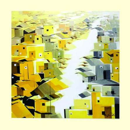 Abstract Acrylic Art Painting title 'Present landscape 1' by artist Solomon Rajendiran