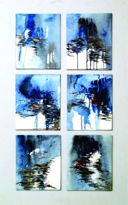 Abstract Acrylic Art Painting title 'Present landscape 3' by artist Solomon Rajendiran
