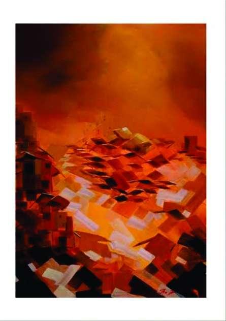 Abstract Acrylic Art Painting title 'Present landscape 4' by artist Solomon Rajendiran